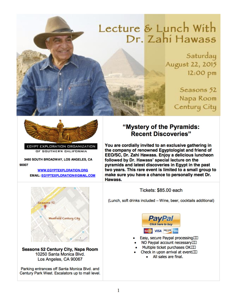 EEOSC_Dr. Hawass lunch and lecture